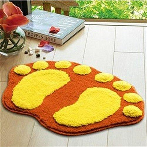 Airblasters Microfiber Lovely Flocking Big Feet Pad Floor Mat Bedroom Area Rug Carpet 58.538.5cm(Orange)