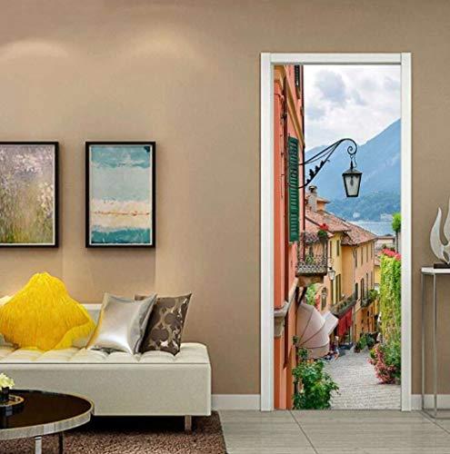 Muursticker 2019 nieuwe mode, 3D, deurstickers, motief oude stad, vinyl, wanddecoratie, deur, waterdicht, PVC, zelfklevend, 95 x 215 cm