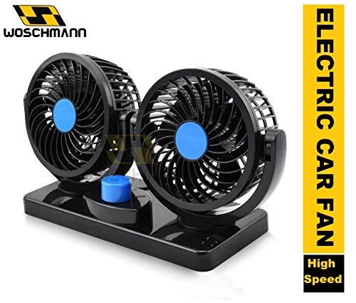 Woschmann - Mitchell 12V DC Electric Car Fan for Dashboad 360 Degree Rotatable Dual Head Car Auto Powerful 2 Speed Cooling Air Fan