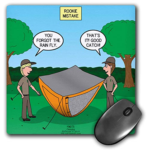 3dRose Camping Rookie Mistake - Pitching a Tent Without a rain Fly and. - Mouse Pads (mp_325669_1)