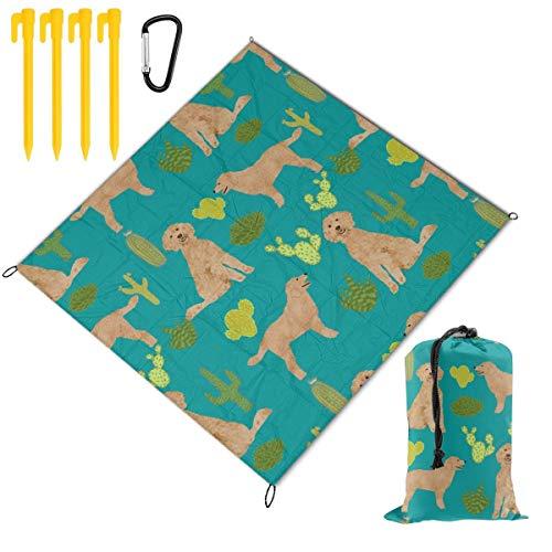 Picknickdecke für Hunde, Kaktus, Hunde, Stoff, Goldendoodle, tragbar, leicht, wasserdicht, sanddicht, große Picknick-Matte und für Outdoor-Reisen, Camping, Wandern