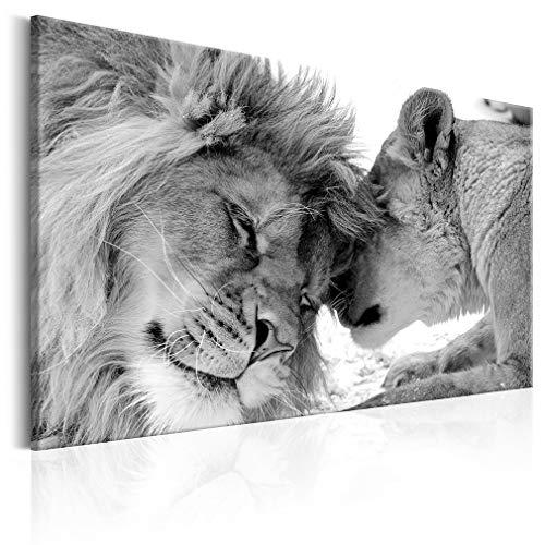 decomonkey Bilder Wandbilder Löwe Afrika Löwenpaar 120x80 cm 1 Teilig Leinwandbilder Bild auf Leinwand Wandbild Wand Wohnzimmer Wanddekoration Deko Tiere Wildlife Natur Savanne