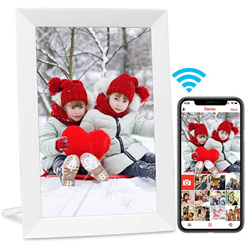 AEEZO WiFi Digital Picture Frame 9 Inch IPS Touch Screen HD Display, Auto-Rotate, Free Unlimited Storage Easy Setup to Share Photos & Videos, Wall Mountable Smart Cloud Digital Photo Frame (White)