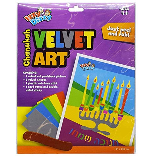 Izzy 'n' Dizzy Hanukkah Velvet Art Kit - Includes 6 Markers, 1 Velvet Poster - 12' x 8.5'- Chanukah Arts and Crafts - Gifts and Games