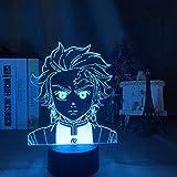 KangYD Lámpara de noche 3D Kimetsu Yaiba Tanjiro Kamado, lámpara de ilusión LED, C - Touch Crack Blanco (7 colores), LED táctil, Lámpara de decoración