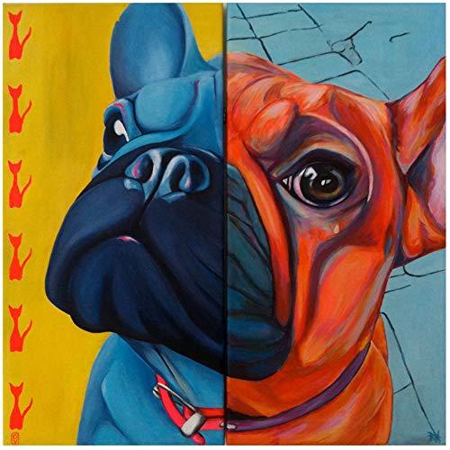 NIEMENGZHEN Druck auf Leinwand Wandkunst Bunte Tiermalerei Hund Leinwand Bild für Wohnzimmer Bulldogge Wohnkultur Druck und Poster 30x30cm ohne Rahmen