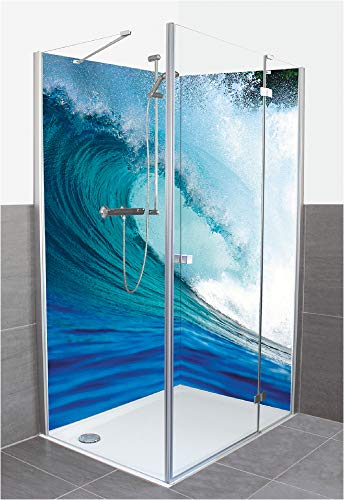 Artland Duschrückwand Eck mit Motiv Fliesenersatz Alu Rückwand Dusche Duschwand Bad 2 Segmente Wunschmaß Natur Welle Meer Karibik Küste Blau R2QM