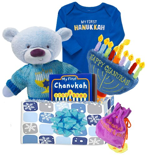 Baby Boutique Baby Boy's Hanukkah Gift Basket with Carter's Bodysuit and 'My First Soft Menorah,' Size: 6-9 months
