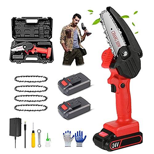 ROM Products Motosierra eléctrica portátil portátil de 4 pulgadas, motosierra eléctrica con 2 baterías y 4 cadenas de poda, motosierra para ramas de árbol de madera
