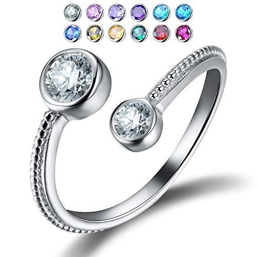 Esberry - Anello aperto in argento Sterling 925 con zirconi cubici, per donne e ragazze e Argento, Resizable, colore: Aprile-diamante, cod. ESD