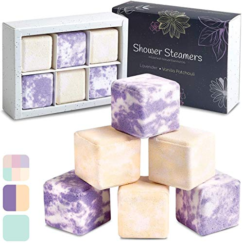 InYourNature Shower Steamers Lavender Vanilla Aromatherapy Gifts - Set of 6 x 50g Vapor Bath Bombs Infused with Natural Essential Oils for Calming and Sinus Relief Perfect Spa Gift for Woman and Men