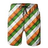 Hombres Grunge Bandera de Irlanda Vacaciones de Verano Troncos de baño Pantalones Cortos de Playa Pantalones Cortos de Tabla 2XL