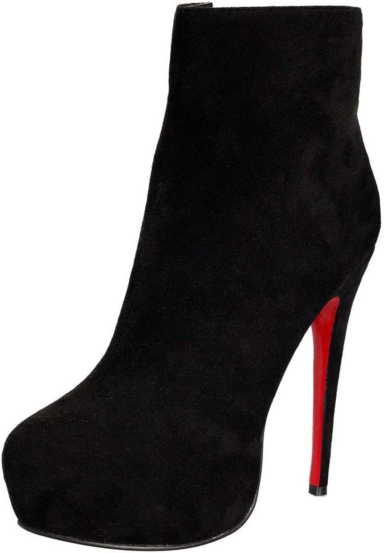 ¥schuhe Damen Ankle Ankle Ankle Stiefel Kurz Stiefel Wildleder High Heels Schuhe mit Reißverschluss  59a4e7