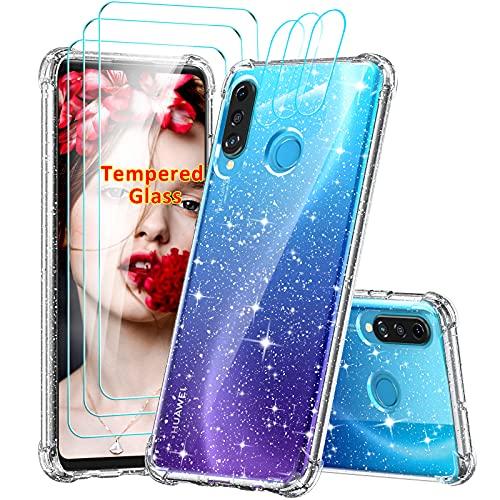 LeYi Coque pour Huawei P30 Lite avec 3 Verres Trempés Protection écran et 3 Protection Camera, Paillette Transparent Renforcée Antichoc Gel TPU Silicone Souple Etui Housse