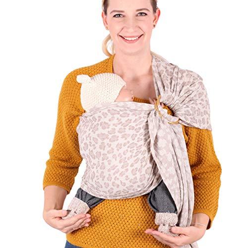 SCHMUSEWOLKE Ring Sling Baby-Tragetuch Hybrid Sommer Musselin Natur BIO-Baumwolle 70 x 215 cm Babysize-Toddlersize Neugeborene und Kleinkinder 0-24 Monate 3-16 kg Hüfttrage