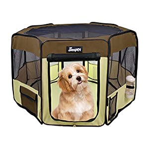 JESPET Pet Dog Playpens 36″, 45″ & 61″ Portable Soft Dog Exercise Pen Kennel with Carry Bag for Puppy Cats Kittens Rabbits, Indoor/Outdoor Use
