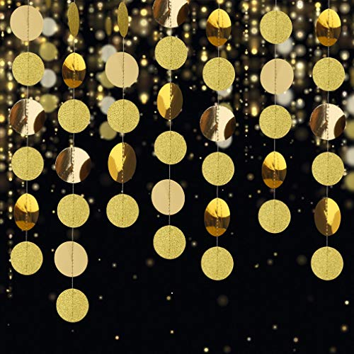 Glitter Paper Garland Circle Dots Party Decoration Hanging Streamer Banner 52 Ft for Birthday Party, Wedding, Baby Shower, Christmas (Gold)