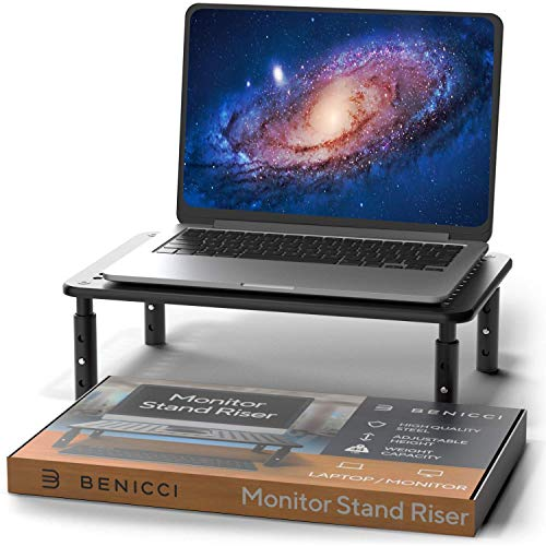 "Deluxe Metal Laptop Stand for Desk - Adjustable 14"" x 9"" Black Monitor Stand Riser - Portable Cooling for Laptops or Screens - The Perfect Home Office Organizer for Printers, Gaming and Accessories"
