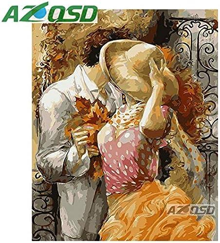 marcas de diseñadores baratos KYKDY Besar amante pintura pintura pintura por números en lienzo 40x50 cm Sin marco pintura al óleo imagen por números decoración para el hogar szyh6167, marco de bricolaje, 40x50 cm