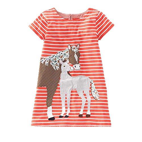 Beilei Creations Mädchen Kleider Kurzarm Baumwolle Kinder Kleid Süßes Muster Gr.85-130 (7Jahre/130cm, Oranges Pferd)