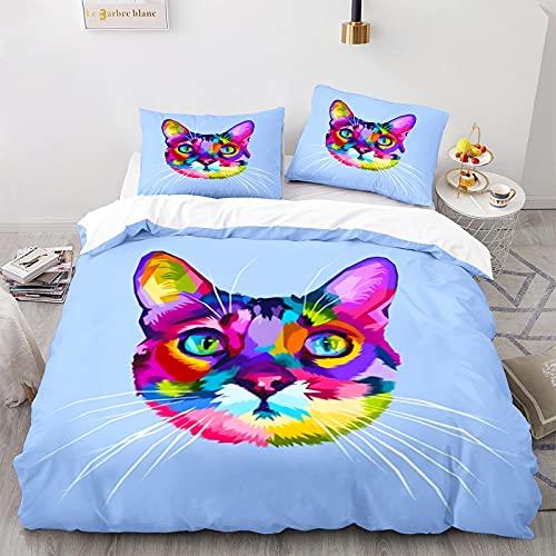 Funda Nórdica Gatos Juego de Cama Blanco Estilos Múltiples Súper Lindos Patrón de Gato Animal 3D con Funda de Almohada con Cremallera (Gato 1,Cama 150-220×240)