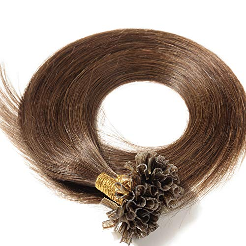 Extension Cheveux Naturel Kératine 100 Mèches 50g - Rajout Vrai Cheveux Humain Lisse (#04 Châtain, 60 cm)