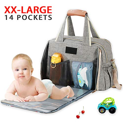 Baby Diaper Bag, Large Stylish Tote Convertible Travel Baby Bag for Boys Girls with Changing Pad, Insulated Pockets (Grey)