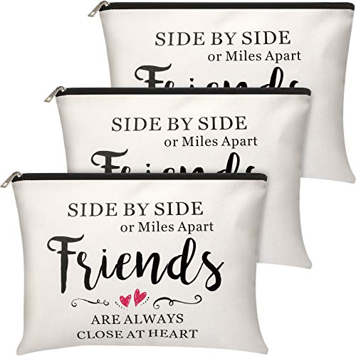 3 Pieces Good Friend Gifts Cosmetic Bag for Women, Funny Long Distance Friendship, Birthday, Moving Away, Christmas Gifts Makeup Bags Travel Cases for Good Friends Bestie Soul Sister Her