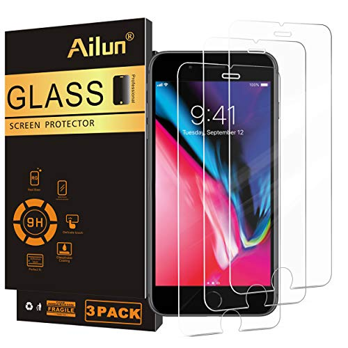 Ailun Screen Protector Compatible with iPhone 7 plus iPhone 8 plus iPhone 6 plus iPhone 6s plus 3 Pack 0.25mm Tempered Glass