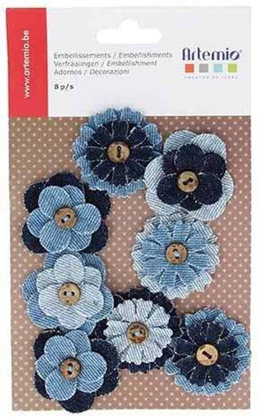 Artemio Set of 8?Flower Buttons Canvas Jean, Blue, 19?x 11.5?x 0.5?cm