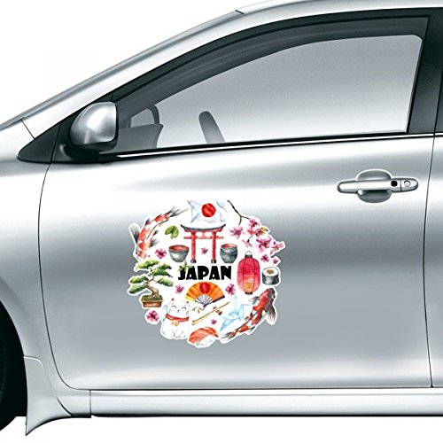 DIYthinker Aquarel Nationale Vlag Lucky Kat Sakura Sushi stokjes Carp Archway Lantaarn Illustratie Auto Sticker Op Auto Styling Decal Motorfiets Stickers Voor Auto Accessoires