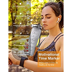 OMORC Sports Water Bottle with time marker-32oz, Fruit infuser BPA Free Tritan Plastic Drinking Bottle with Locking Flip Lid, One-Handed Open Fitness Workout Water Bottle with Filter-Grey