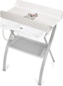 Cartoon Pattern Baby Changing Clothes Diaper Table  Folding Baby Bath Table and Dresser Unit with Bathtub  Foldable Cross Leg Style  color Style