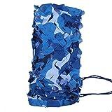 mitefu Dos Niveles Océano color camo Netting camping caza tiro Protección Solar Camuflaje Net con malla Support Grid, 210d material, 1packung, azul (ozean)