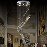 JEUNEU Modern Royal Crystal Chandelier K9 Raindrop Ceiling Light for Living Room Hotel Hallway Foyer Entry Way Stairways
