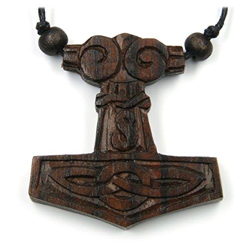 Thor Hammer Schmuck Holz, Kettenanhänger Thors Hammer Länge: 4cm inkl. Band