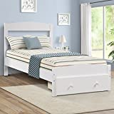 Merax Platform Twin Bed Frame with Storage Drawer and Wood Slat Support No Boxspring, White