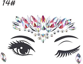 1PC Temporary Tattoo Sticker Face Jewelry Gems Rhinestone Decoration Party Festival Makeup Glitter Tattoos Body Art Stickers (Color : 14)
