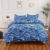 YMY Lightweight Microfiber Bedding Duvet Cover Set,Camouflage Dark Blue Printing Pattern (King)