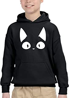 おもしろ猫顔 黒ニャンコ ネコフェイス キュート! パーカー プルオーバー キッズ 子供服 裏毛 トップス 個性 プリント オシャレ 上着 男の子 女の子