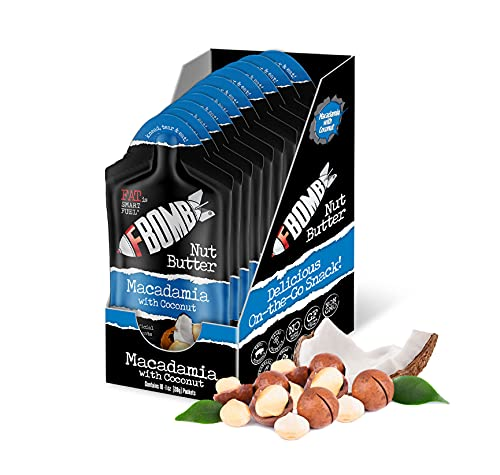 FBOMB 10-Count Box – Macadamia & Coconut Nut Butter Fat Bomb – All-Natural On-The-Go Snack/Low Carb Energy/High Quality Fat/Keto, Paleo, Vegan Friendly – 1-Ounce Packets