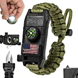 PSK Paracord Bracelet 8-in-1 Personal Survival Kit Urban & Outdoors Survival Knife, Fire Starter, Glass Breaker, Survival Whistle, Signal Mirror, Fishing Hook & String, Compass (Green USA Flag)