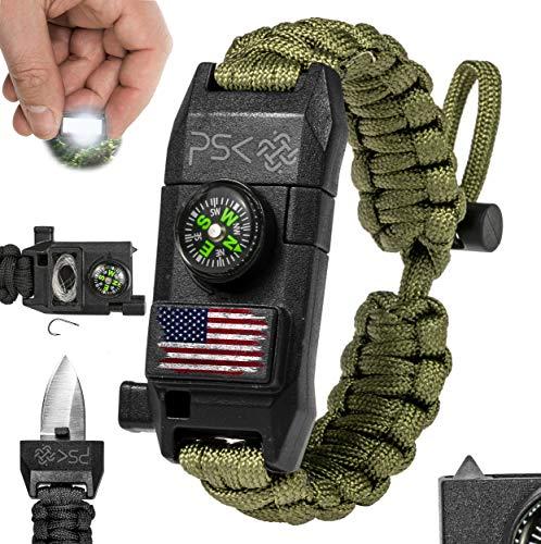 PSK Paracord Bracelet 8-in-1 Personal Survival Gear Kit - Urban & Outdoors Survival Bracelet , Fire Starter, Glass Breaker, Survival Whistle, Signal Mirror, Fishing Hook, Compass (Green USA Flag)