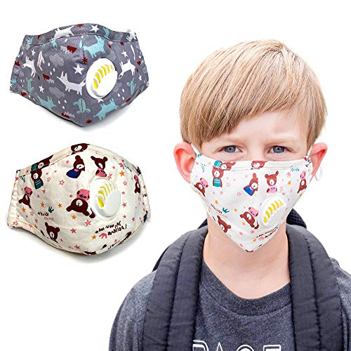 Children's Reusable Cotton Dust Face Cover with Filter. 2 Masks Plus 4 Filters. Wash and Re-usable Made with 100% Cotton for A Comfortable Wear All Day Long. (Gray n Beige)