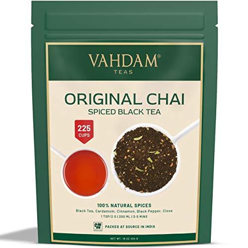 VAHDAM, hojas sueltas de te original indio Masala Chai latte (mas de 200 tazas) | 100% INGREDIENTES NATURALES | Te negro, canela, cardamomo, clavo y pimienta negra | Producto de la India | Tea | 454gr