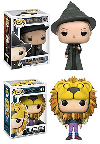 Funko POP! Harry Potter: Minerva McGonagall + Luna Lovegood (Lion Head) - Stylized Movie Vinyl Figure Set NEW