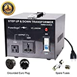 PowerBright Step Up & Down Transformer, Power ON/Off Switch, Can be Used in 110 Volt Countries and 220 Volt Countries, Convert from 220-240 Volt to 110-120 Volt & from 110-120 Volt to 220-240 (2000W)