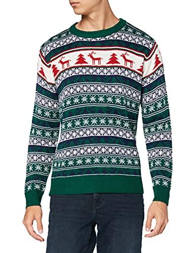 NIZZIN Elm, Suéter de Navidad Unisexo, Verde (Green 19-5420), Large