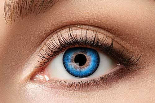 Zoelibat Natürlich Farbige Kontaktlinsen für 12 Monate, Ton63, 2 Stück, BC 8.6 mm / DIA 14.5 mm, Jahreslinsen in Markequalität, blau
