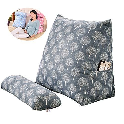 Cuscino a cuneo regolabile con copertura lavabile, cuscino triangolare a cuneo, supporto per la lettura, cuscino lombare per casa, ufficio, 45 x 50 cm H
